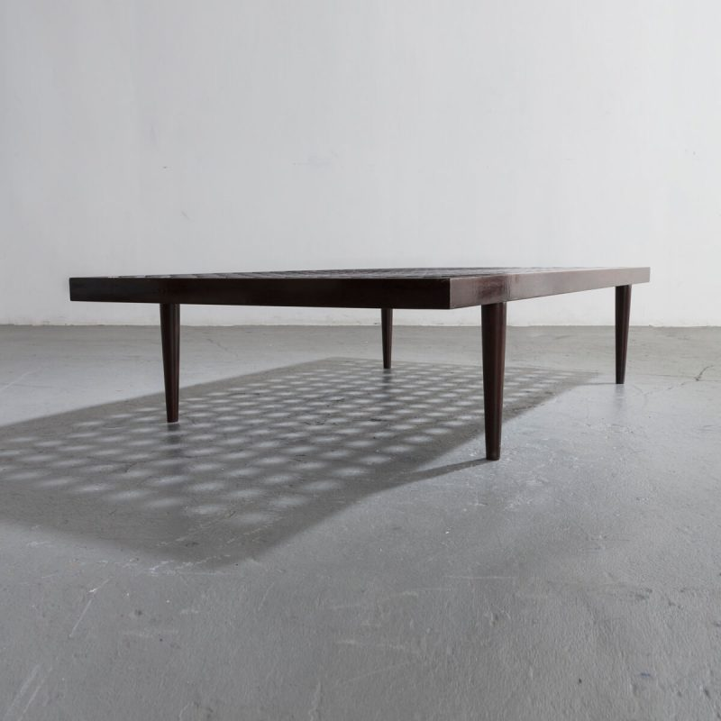 Checkerboard Coffee Table In Ebonized Wood.